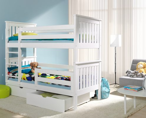2 osobowe łóżko piętrowe białe