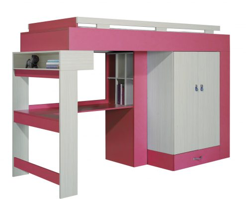 Łóżko piętrowe Komi z biurkiem