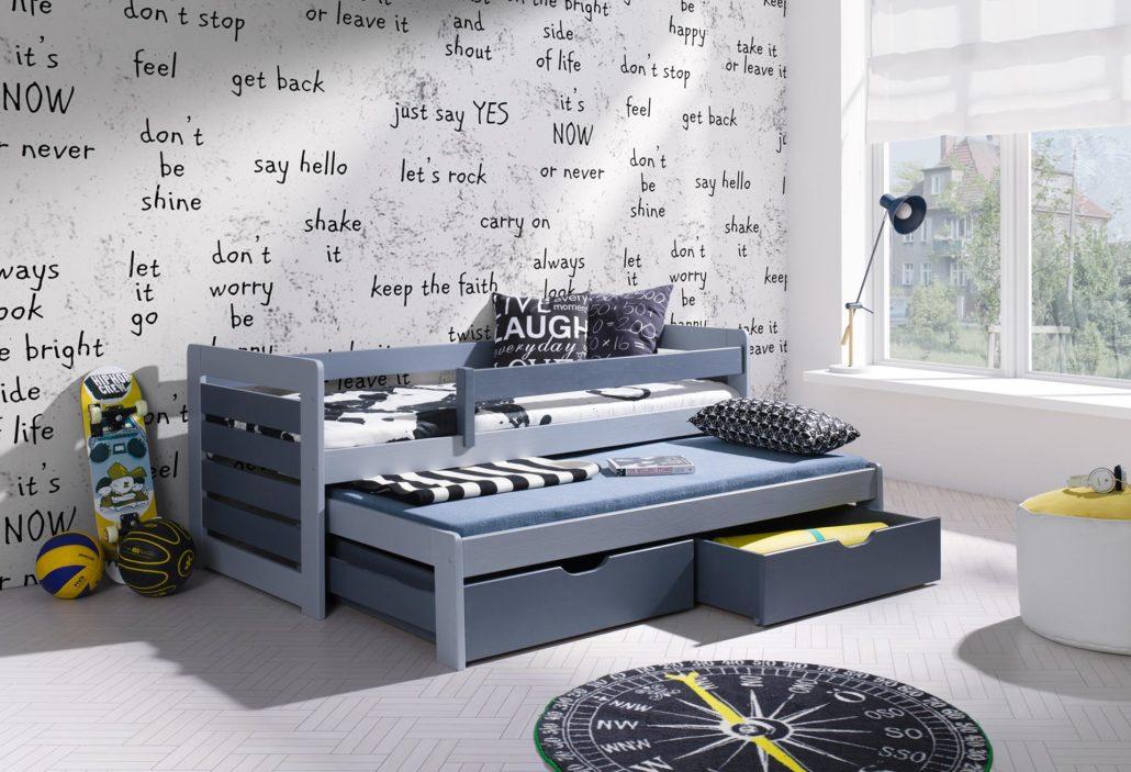Łóżko piętrowe niskie z barierką